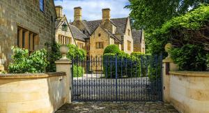 high net worth home with gates